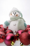 Snowman And Christmas Balls Royalty Free Stock Images