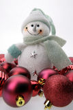 Snowman And Red Ornaments Stock Image