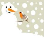 Snowman And Robin Bird Royalty Free Stock Photos