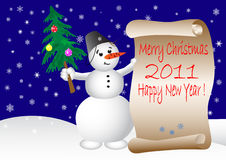 Free Snowman And Scroll. Vector Illustration. Stock Photo - 16222010