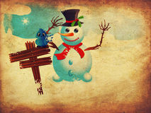 Snowman And Signboard Royalty Free Stock Images