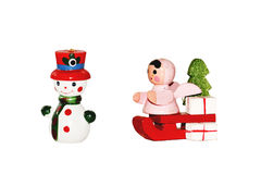 Snowman and angel Royalty Free Stock Photo