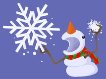 Snowman Angry Cartoon. Snowman holding snowflake angry threatening cartoon character, vector illustration horizontal Royalty Free Stock Images