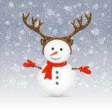 Snowman with antler. Christmas background with cute snowman and antler, illustration vector illustration