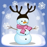 Snowman with antlers Stock Image