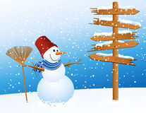 Snowman and arrow Royalty Free Stock Photography
