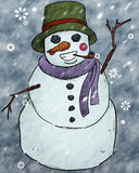 Snowman Art Graphic. A cartoon illustration of a happy snowman in a winter storm Royalty Free Stock Photo
