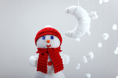 The snowman, artificial moon Stock Photo