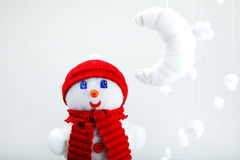 The snowman, artificial moon Royalty Free Stock Images
