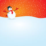 Open Arm Happy Smiling Snowman with Snow Falling. Word, body copy, ads and other wording can be place in the bottom. This can be also used as christmas card royalty free illustration