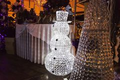 Snowman as decoration, shining snowman for Christmas decoration at Christmas ceremony, Prague, Czech Republic.. Christmas time, Pr Royalty Free Stock Images