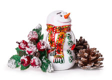 Snowman ashberry pine cone Royalty Free Stock Photo