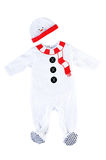 Snowman baby costume. Isolated on white background. Snowman baby costume. Isolated outfit on white background Royalty Free Stock Photography