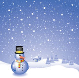 Snowman background. Vector design with snowman, house, trees and snowfall Royalty Free Stock Photo