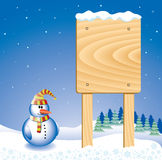 Snowman background. Vector design with snowman and message board Royalty Free Stock Image