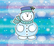 Snowman on background. Cute Snowman on snowy background stock illustration