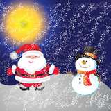 Snowman on background. Snowman of frame on christmas night background Royalty Free Stock Photos