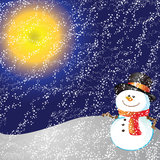 Snowman on background. Snowman of frame on christmas night background Royalty Free Stock Photography