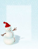 Snowman Background. Snowman with red hat suitable for backgrounds, flliers and posters Stock Photo