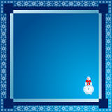 Snowman background. Vector illustration of snowman with red bow on blue winter background Royalty Free Stock Photography