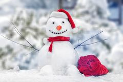 Snowman. Background christmas xmas frosty area card royalty free stock photo