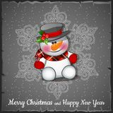 Snowman on the background of the gray snowflakes. Sketch for greeting card, festive poster or party invitations.The. Attributes of Christmas and New year Royalty Free Stock Photo