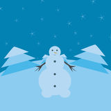 Snowman. With a background trees and snowflakes Stock Images