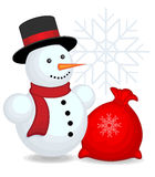 Snowman with bag Royalty Free Stock Images