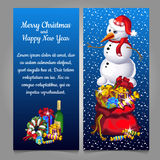 Snowman with bag of gifts and alcohol. On a blue background Royalty Free Stock Image