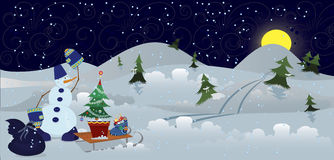Snowman with bag and sleds banner Stock Images