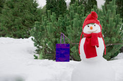 Snowman with a bag. A smiling snowman with a blue bag Royalty Free Stock Photography