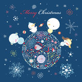 Snowman on the ball Royalty Free Stock Image