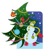 Snowman with ball and Christmas tree Royalty Free Stock Images