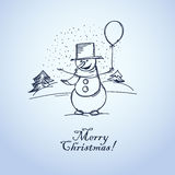 Snowman with balloon. Merry Christmas from smiling snowman ith balloon vector illustration