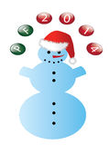 Snowman. With balls PF 2014 Stock Photo