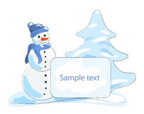 Snowman with a banner Royalty Free Stock Photos