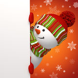 Snowman banner. Snowman holding banner on red background Royalty Free Stock Photography