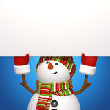Snowman banner. Snowman holding banner on blue background Royalty Free Stock Images