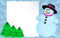 Snowman with banner. Snowman with hat and beads with a paper poster and green trees Royalty Free Stock Image