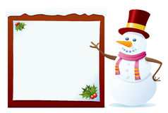 Snowman With Banner Royalty Free Stock Photography