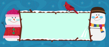 Snowman Banner. Cartoon snowman and snow-woman holding a decorative banner. Eps10 royalty free illustration