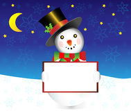 Snowman with banner christmas  illustration Stock Image