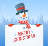 Snowman with banner christmas vector background Royalty Free Stock Photo