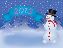 Snowman with banner scroll 2013 Royalty Free Stock Photography