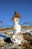 Snowman at base of mountain. A three layered snowman with a tuft of grass for a hat is located at the base of a mountain Royalty Free Stock Image