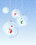 Snowman bauble. An illustration of festive glass baubles with snowman inside on a blue snowy background Royalty Free Stock Photos