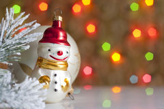 Snowman and baubles in christmas Stock Photos