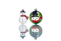 Snowman Baubles with snowman on white Background, copy space Royalty Free Stock Photos