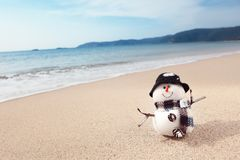 Snowman on the beach Royalty Free Stock Photography