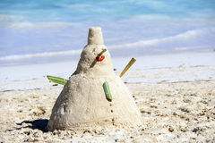 Snowman On Beach in caraibe Stock Images